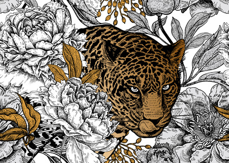 Illustration pour Leopard and peonies. Seamless floral pattern with animals and garden flowers. Modern decor Beast style. Vector illustration. Template for paper, textile, wallpaper. Black, white and gold foil. - image libre de droit