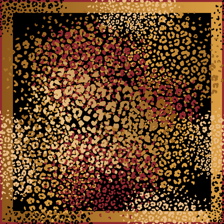 Foto de Animal print. Leopard fur spots. Vector illustration. Print of gold foil and red color on black background. Abstract pattern. Template for design scarf or pillow. Beast style. - Imagen libre de derechos