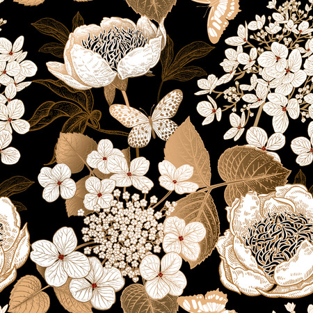 Ilustración de Peonies, hydrangea and butterfly. Floral vintage seamless pattern. Gold and white flowers, leaves, branches on black background. Oriental style. Vector illustration art. Template of textiles, paper. - Imagen libre de derechos