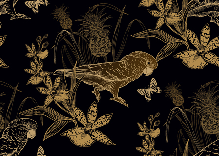 Illustration pour Parrot birds, pineapple, flowers orchid and butterfly. Seamless pattern. Gold foil black. Vector illustration. Template for textiles, paper, wallpaper, Hawaiian shirts. Nature style. Vintage engraving - image libre de droit