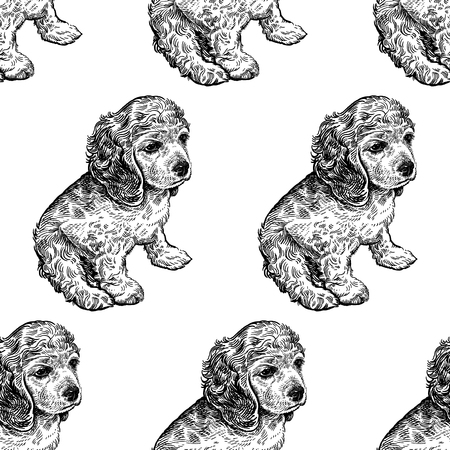 Seamless pattern with cute puppies. Home pets isolated on white background. Sketch. Vector illustration art. Realistic portraits of animal. Vintage. Black and white hand drawing of dogs spaniel.