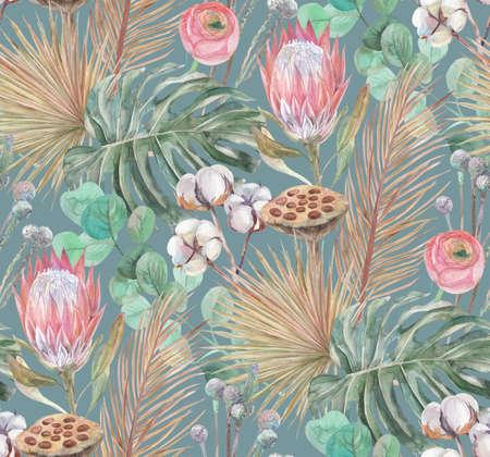 Foto de delicate watercolor seamless pattern with tropical dried flowers - Imagen libre de derechos