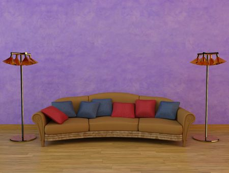 3D Rendering of a sofa with cushions and two lamps