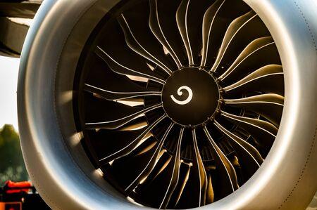 Foto de Close up view of Jet engine turbine - Imagen libre de derechos