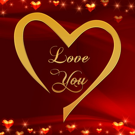 text love you in golden heart with shining hearts over red background
