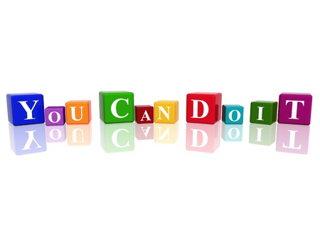 3d color cubes with text - you can do it