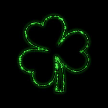 shining stars like green trefoil over black background