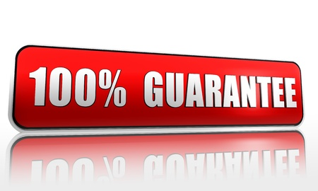 100 percent guarantee red 3d banner with text