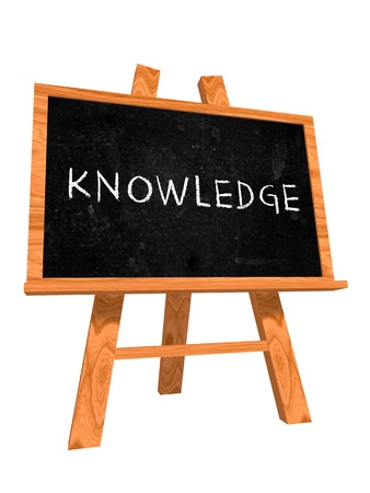 Photo pour 3d isolated wooden blackboard with text - knowledge - image libre de droit