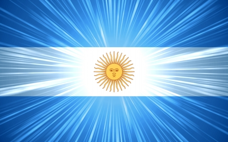Argentine flag with light rays abstract background