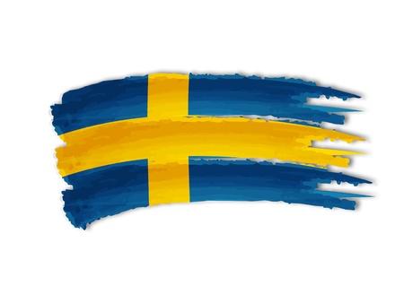 illustration of isolated hand drawn Swedish flag