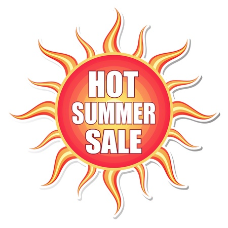hot summer sale banner - text in red orange yellow label with sun shape, business concept