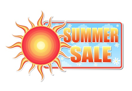 summer sale banner - text in blue label with red yellow sun and white daisy flowers, business concept