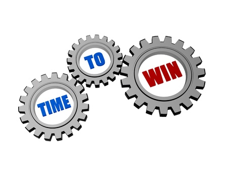 time for win - text in 3d silver grey gearwheels, business concept words