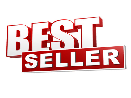 text best seller - 3d red white banner, letters and block, business shopping concept