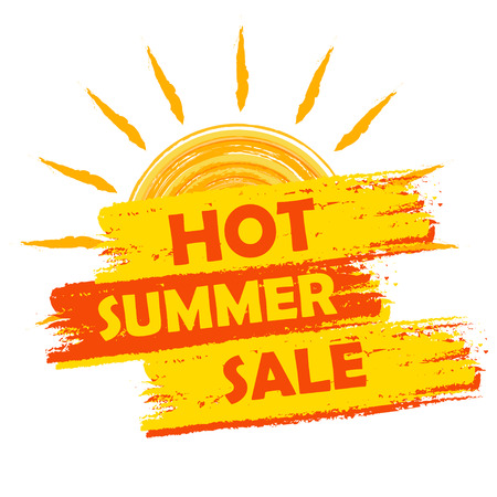 Foto de hot summer sale banner - text in yellow and orange drawn label with sun symbol, business seasonal shopping concept - Imagen libre de derechos
