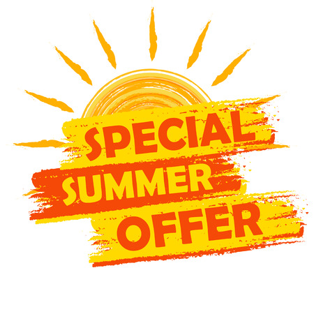Foto de special summer offer banner - text in yellow and orange drawn label with sun symbol, business seasonal shopping concept - Imagen libre de derechos