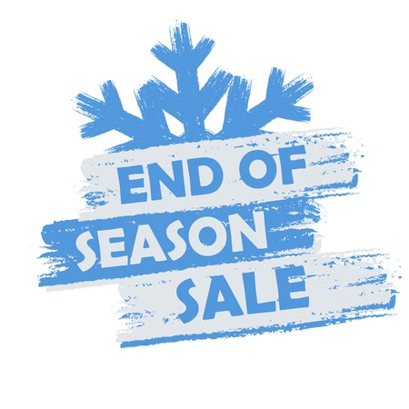 end of season sale banner - text in blue and white drawn label with snowflake symbol, business seasonal shopping concept