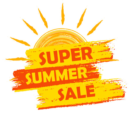 Foto de super summer sale banner - text in yellow and orange drawn label with sun symbol, business seasonal shopping concept - Imagen libre de derechos