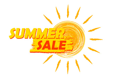 Foto de summer sale banner - text in yellow and orange drawn label with sun symbol, business seasonal shopping concept - Imagen libre de derechos