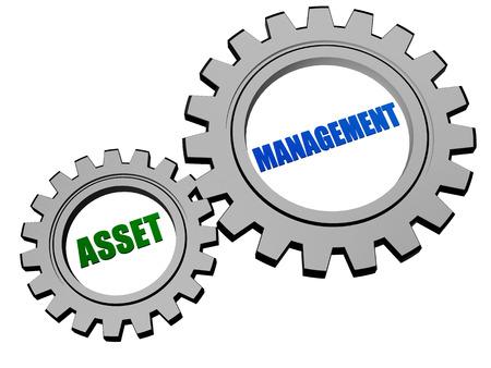 asset management - text in 3d silver grey metal gear wheels, business financial operation concept