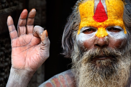 Guru in the colorful streets of Kathmandu