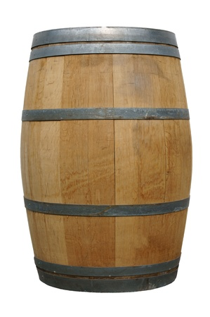 wooden barrel over a white background