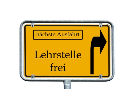 sign with the german words next exit and Teaching vacancy