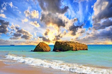 Atlantic beach with beautiful sky