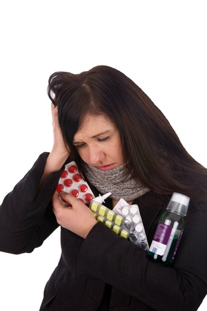 sick woman with pills and medicines