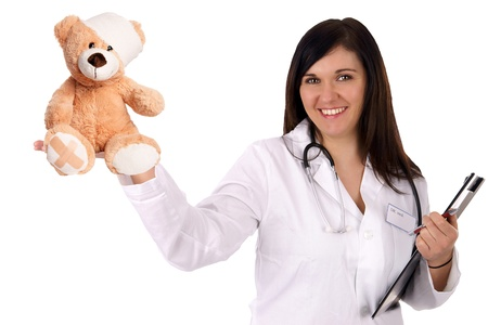 young doctor with sick teddy