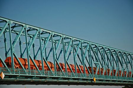 Train running over Danubian bridge