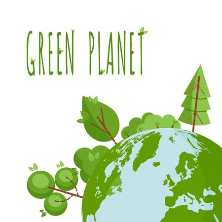 Concept with green trees and planet Earth. Place for text. Text Green Planet. Ecological concept. Template for flyer, poster, invitation, Earth day. Flat, thin line style design. Vector illustration.