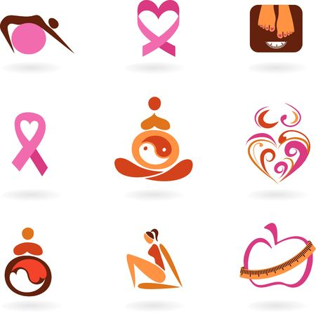 Collection of female health awareness and prevention icons