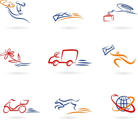 Collection of delivery and post icons and logos