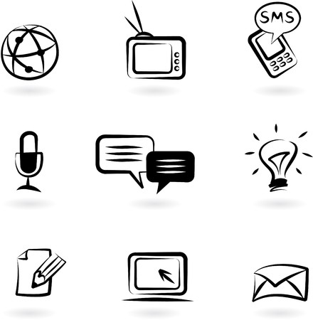 Photo for Collection of black and white communication icons - Royalty Free Image