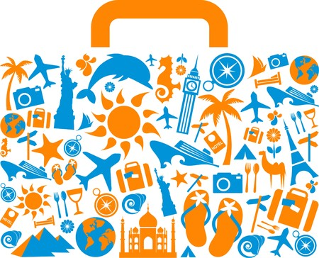Illustration pour Travel suitcase with many colourful tourism and vacation icons and logos - image libre de droit