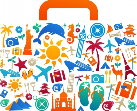Foto de Travel suitcase with many colourful tourism and vacation icons and logos - Imagen libre de derechos
