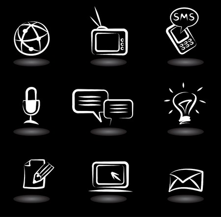 Photo for Collection of  communication icons on black background - Royalty Free Image