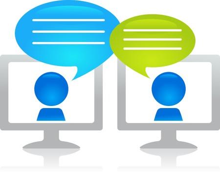 Illustration pour People chatting through the internet - image libre de droit