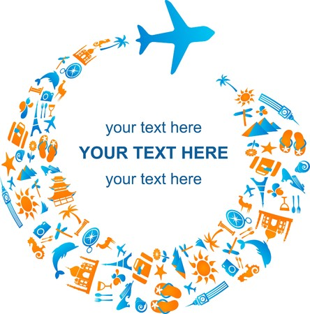 Illustration pour Travel template with airplane trail made from many icons - image libre de droit