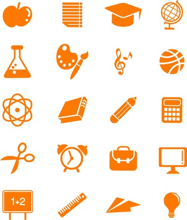 Collection of many educations and science icons and logos