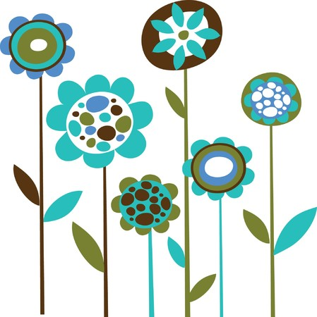 Illustration pour Grunge blue flower doodles - image libre de droit