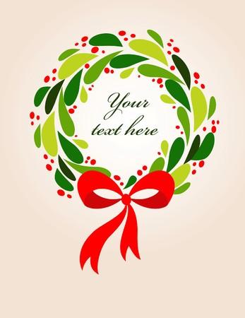 Christmas wreath card template - 2