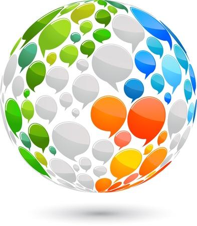 Illustration pour World map made from speech bubbles - image libre de droit