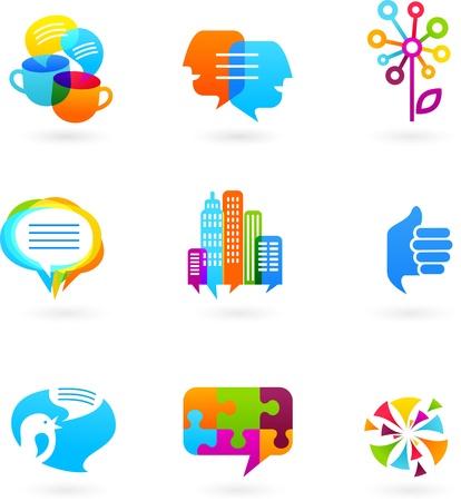 Illustration pour Social network icons and graphic elements - image libre de droit