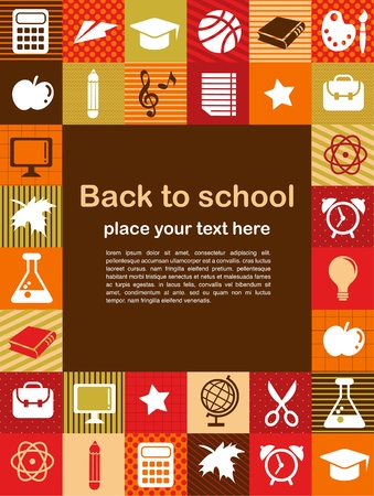 Photo for back to school - background with education icons - Royalty Free Image