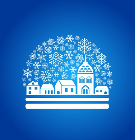 snow globe with a town and snowflakes