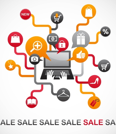 Internet shopping with set of icons