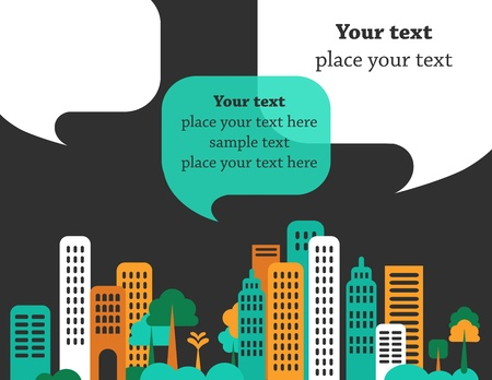 Illustration pour City talks, buildings and speech bubbles - image libre de droit
